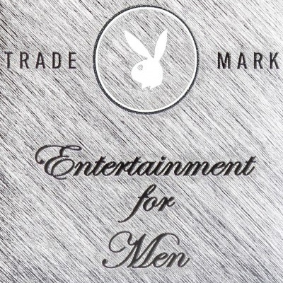 Trade mark playboy logo met de tekst 'Entertainment for men'